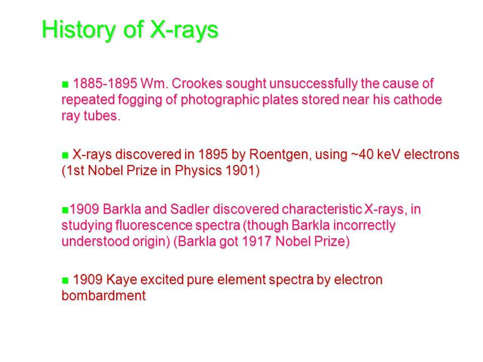 History of X-rays n 1885-1895 Wm.