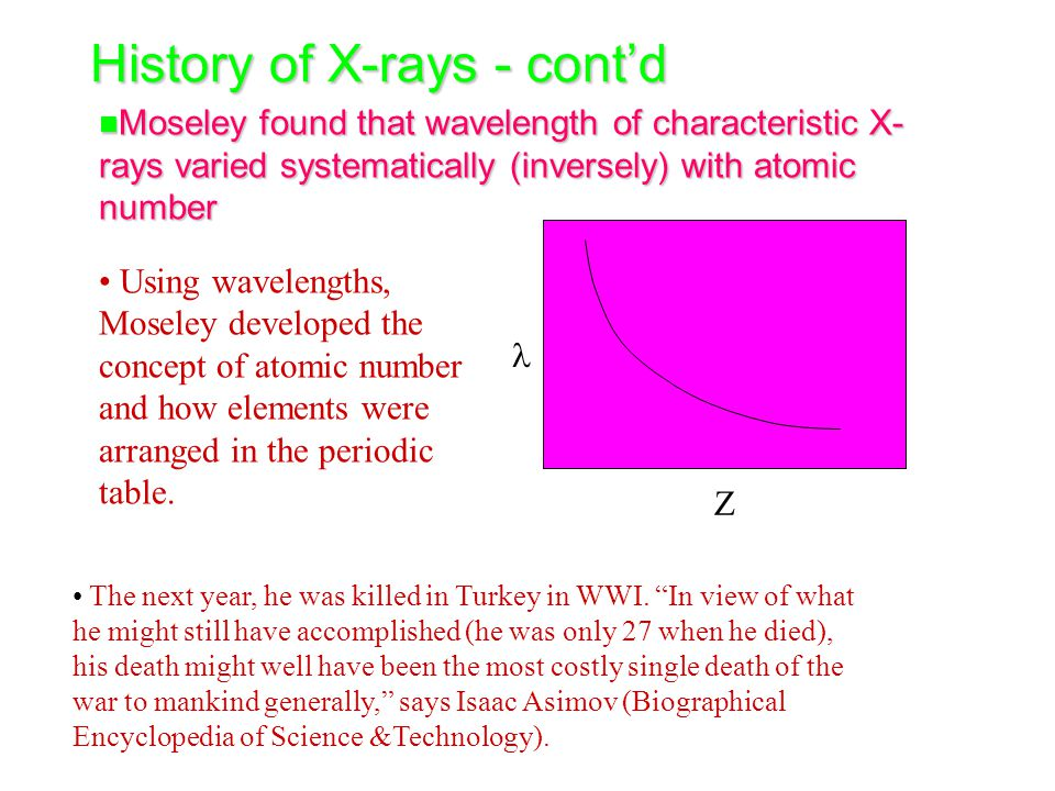 History of X-rays - cont'd n Moseley found that wavelength of characteristic X- rays varied systematically (inversely) with atomic number Z Using wavelengths, Moseley developed the concept of atomic number and how elements were arranged in the periodic table.