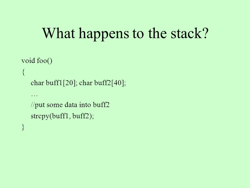 What happens to the stack.