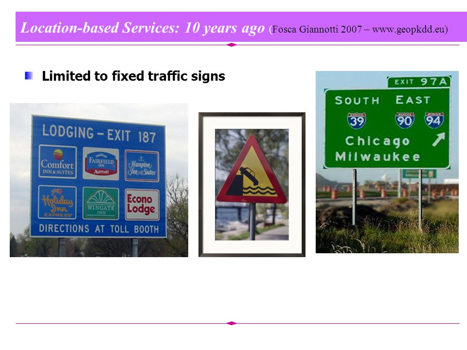 Location-based Services: 10 years ago (Fosca Giannotti 2007 – www.geopkdd.eu) Limited to fixed traffic signs