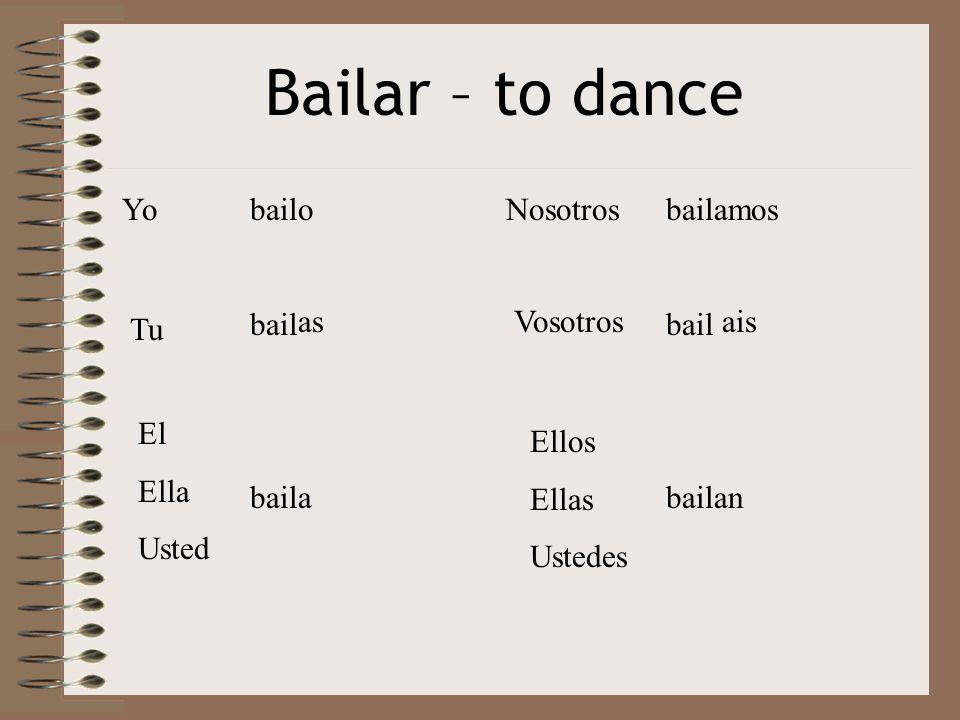 Bailar – to dance Yo Tu El Ella Usted Nosotros Vosotros Ellos Ellas Ustedes bail o as a amos ais an