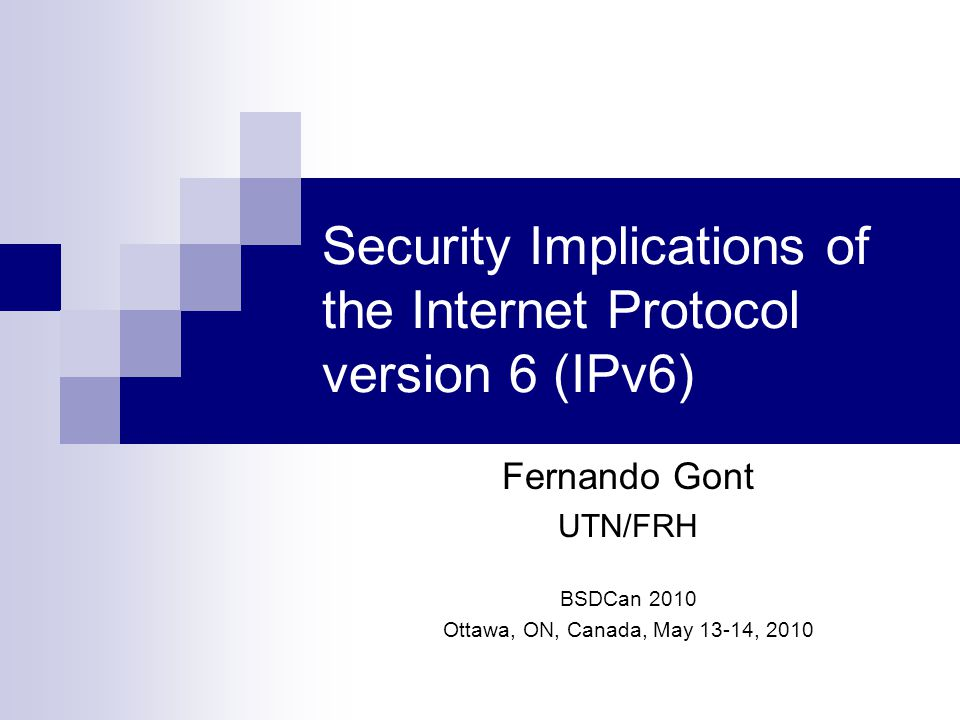 Agenda Ongoing work on IPv6 security at UK CPNI Brief comparision of IPv4 and IPv6 IPv6 addressing Fragmentation and Reassembly Internet Control Message Protocol version 6 (ICMPv6) Address Resolution State-less autoconfiguration Personal Rant on IPv6 security Questions and (hopefully) answers