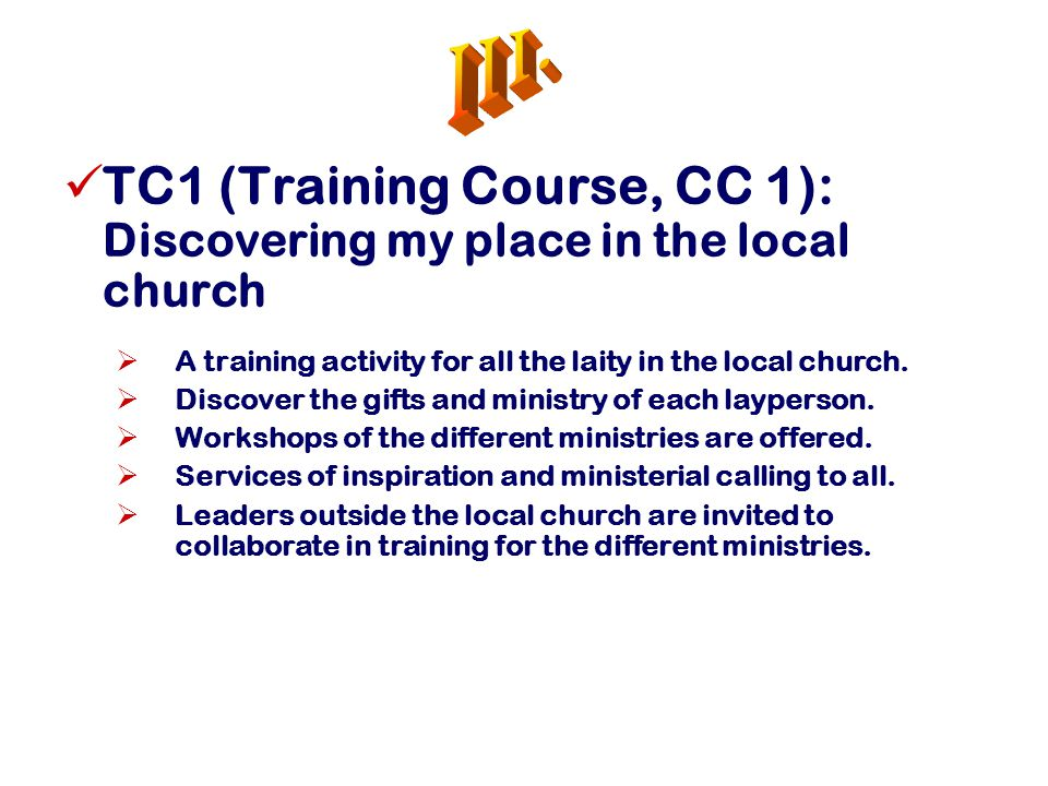 TC1 (Training Course, CC 1): Discovering my place in the local church  A training activity for all the laity in the local church.