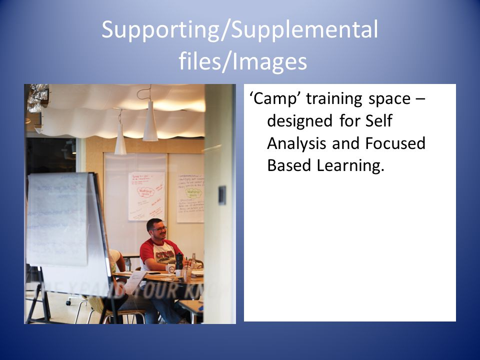 Supporting/Supplemental files/Images 'Camp' training space – designed for Self Analysis and Focused Based Learning.