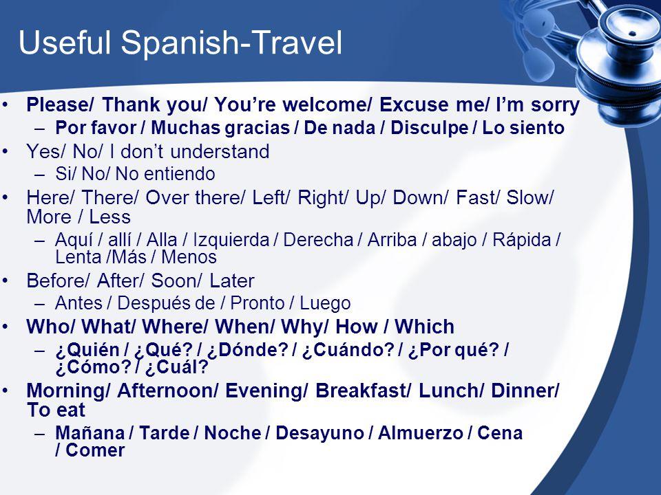 Useful Spanish-Travel Please/ Thank you/ You're welcome/ Excuse me/ I'm sorry –Por favor / Muchas gracias / De nada / Disculpe / Lo siento Yes/ No/ I don't understand –Si/ No/ No entiendo Here/ There/ Over there/ Left/ Right/ Up/ Down/ Fast/ Slow/ More / Less –Aquí / allí / Alla / Izquierda / Derecha / Arriba / abajo / Rápida / Lenta /Más / Menos Before/ After/ Soon/ Later –Antes / Después de / Pronto / Luego Who/ What/ Where/ When/ Why/ How / Which –¿Quién / ¿Qué.