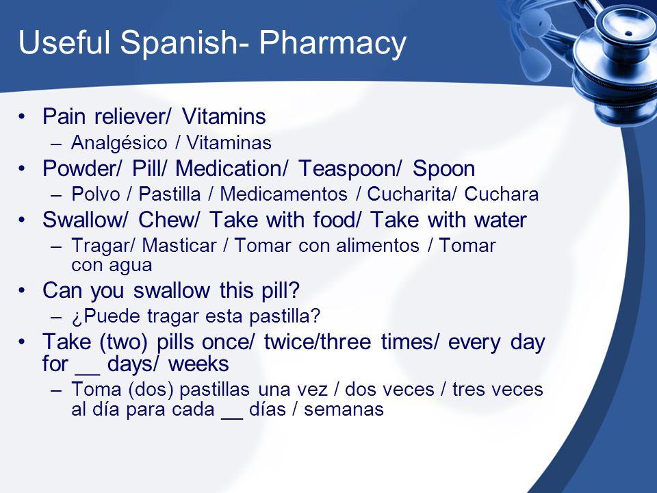 Useful Spanish- Pharmacy Pain reliever/ Vitamins –Analgésico / Vitaminas Powder/ Pill/ Medication/ Teaspoon/ Spoon –Polvo / Pastilla / Medicamentos / Cucharita/ Cuchara Swallow/ Chew/ Take with food/ Take with water –Tragar/ Masticar / Tomar con alimentos / Tomar con agua Can you swallow this pill.