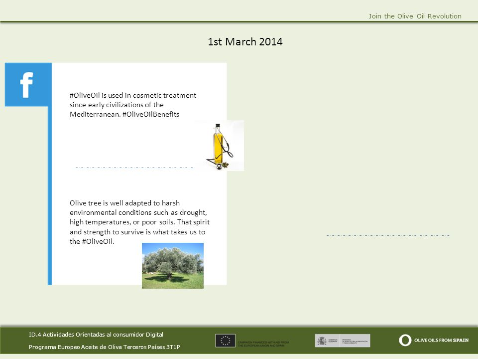 ID.4 Actividades Orientadas al consumidor Digital Programa Europeo Aceite de Oliva Terceros Países 3T1P ID.4 Actividades Orientadas al consumidor Digital Programa Europeo Aceite de Oliva Terceros Países 3T1P Join the Olive Oil Revolution 9th March 2014.
