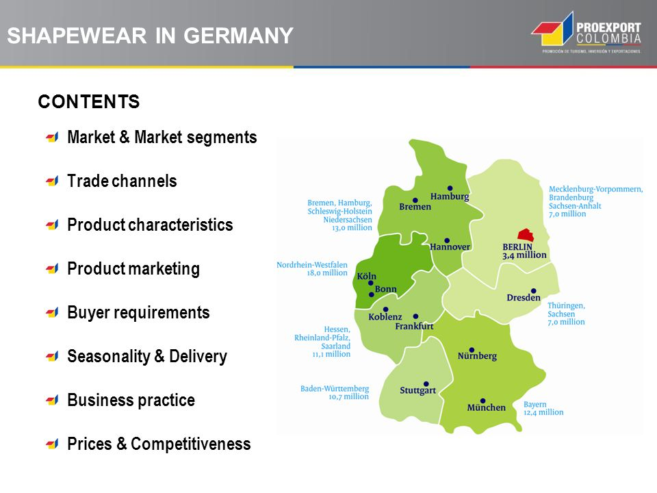 CONTENTS SHAPEWEAR IN GERMANY Market & Market segments Trade channels Product characteristics Product marketing Buyer requirements Seasonality & Delivery Business practice Prices & Competitiveness