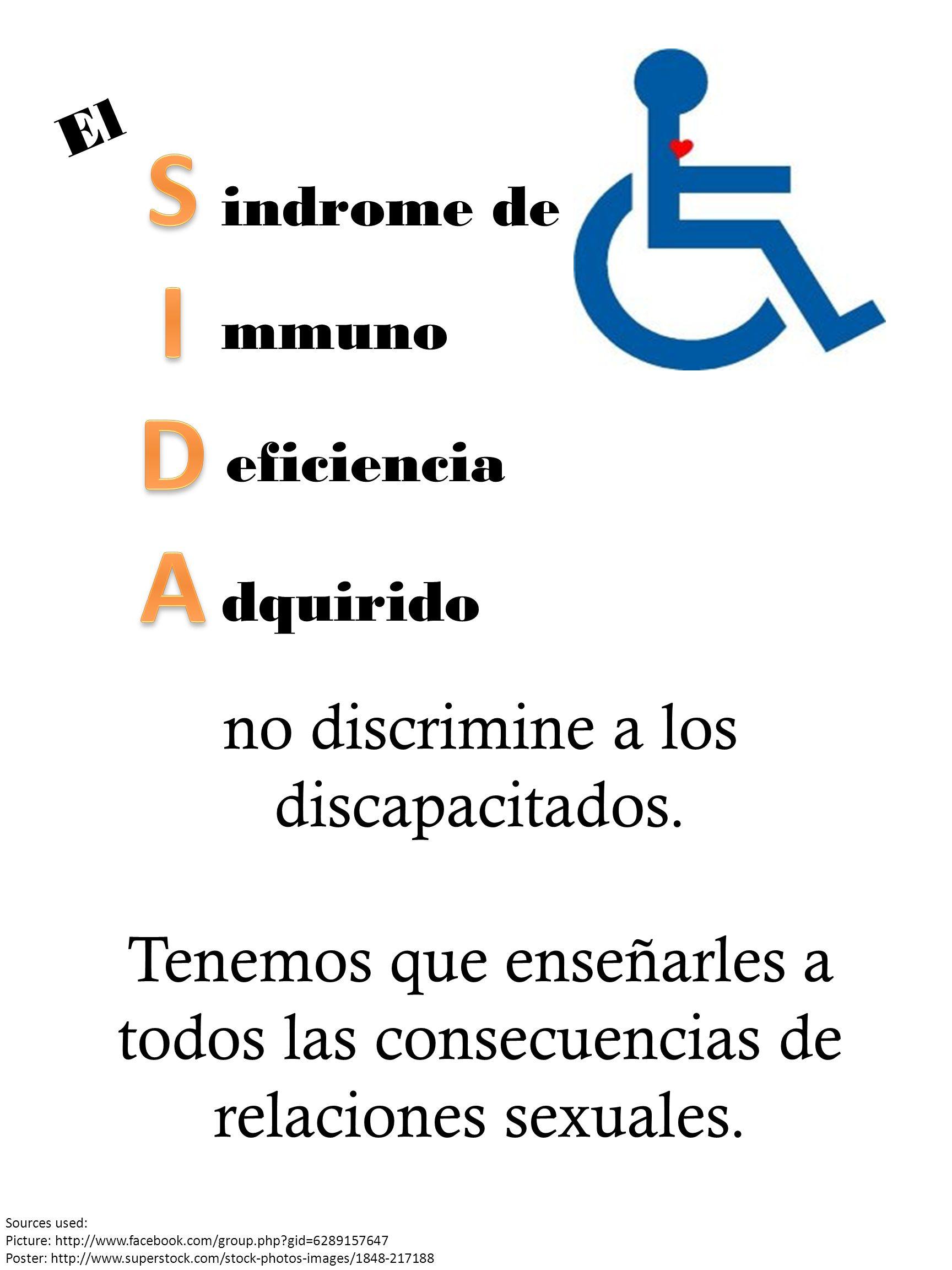indrome de dquirido eficiencia mmuno no discrimine a los discapacitados.