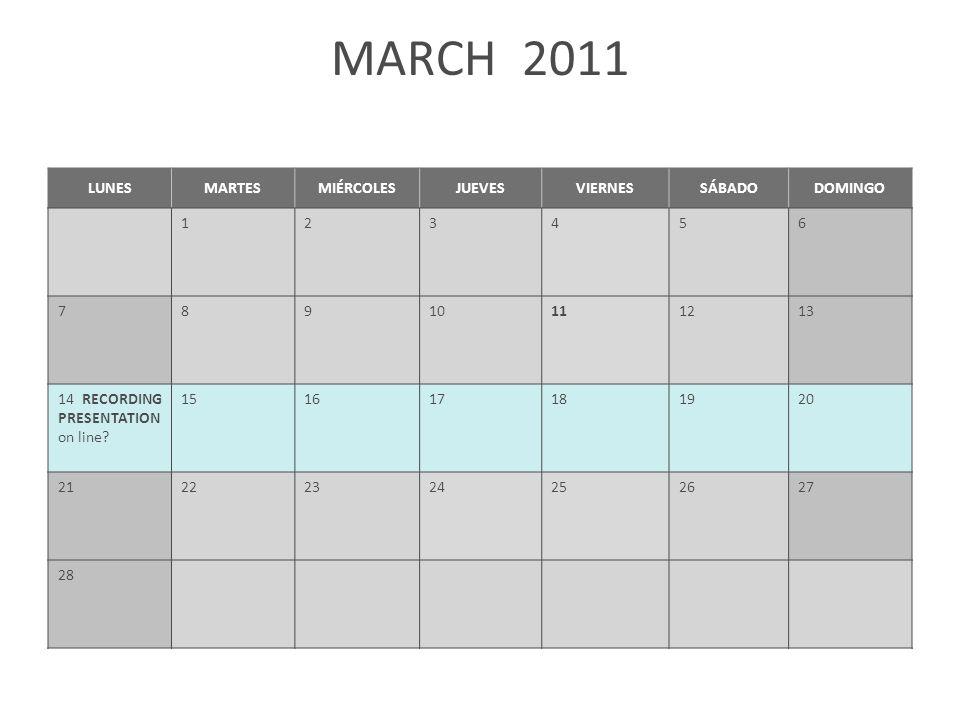 MARCH 2011 LUNESMARTESMIÉRCOLESJUEVESVIERNESSÁBADODOMINGO 123456 78910111213 14 RECORDING PRESENTATION on line? 151617181920 21222324252627 28