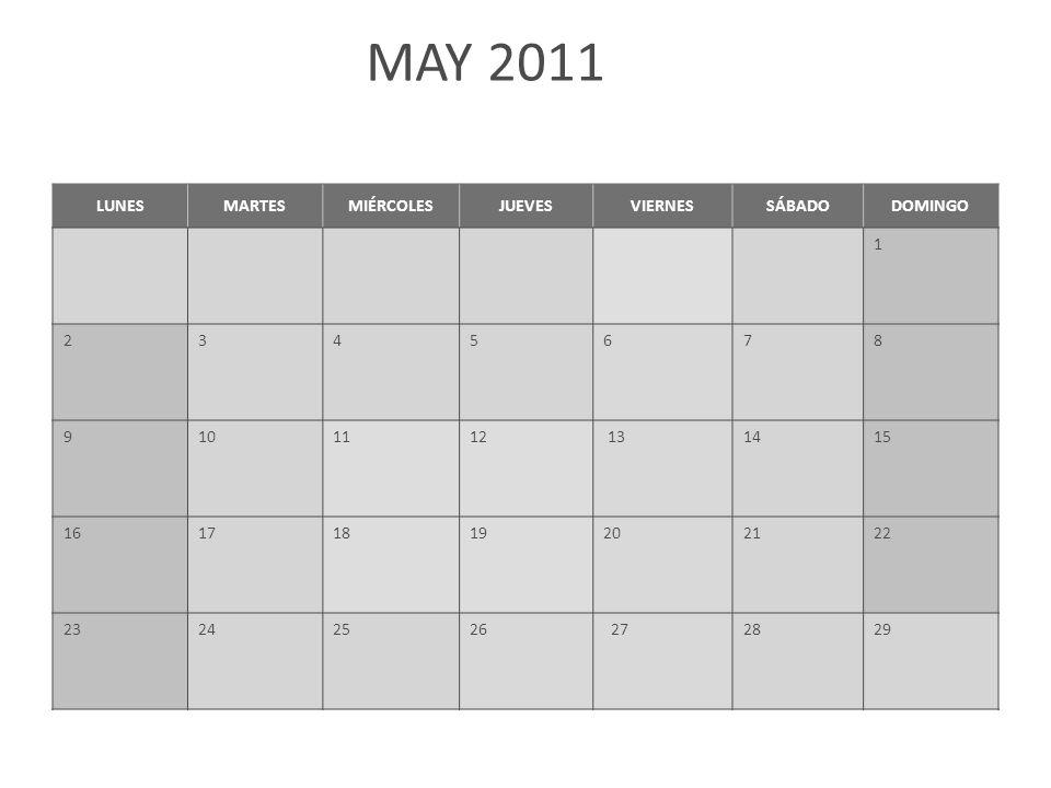 MAY 2011 LUNESMARTESMIÉRCOLESJUEVESVIERNESSÁBADODOMINGO 1 2345678 9101112 131415 16171819202122 23242526 272829