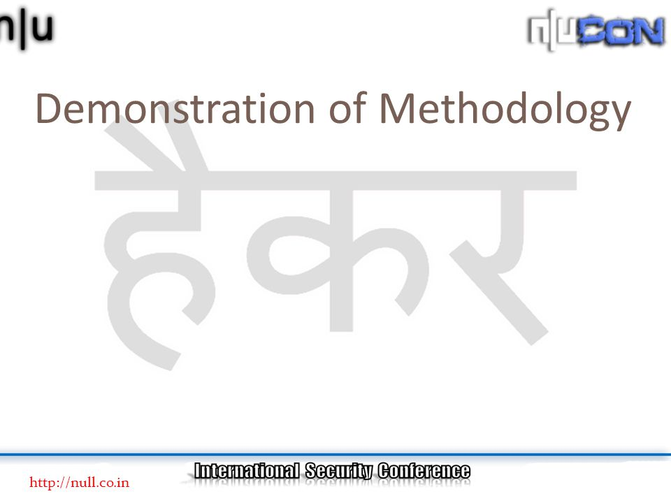 Demonstration of Methodology http://null.co.in