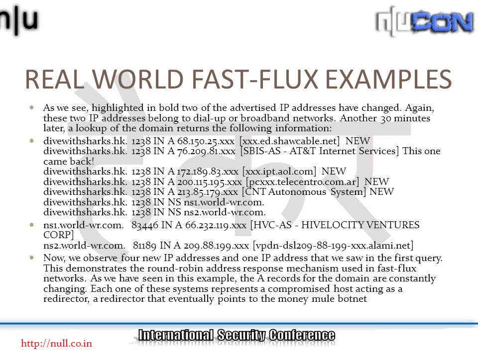 REAL WORLD FAST-FLUX EXAMPLES As we see, highlighted in bold two of the advertised IP addresses have changed.