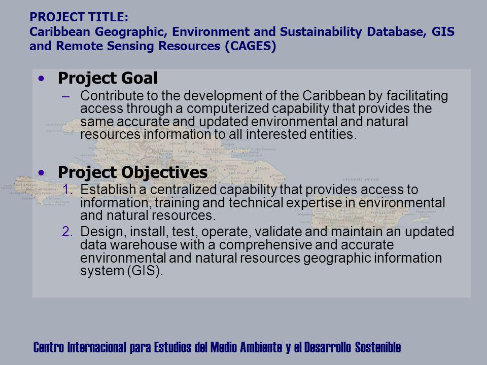 Centro Internacional para Estudios del Medio Ambiente y el Desarrollo Sostenible PROJECT TITLE: Caribbean Geographic, Environment and Sustainability D