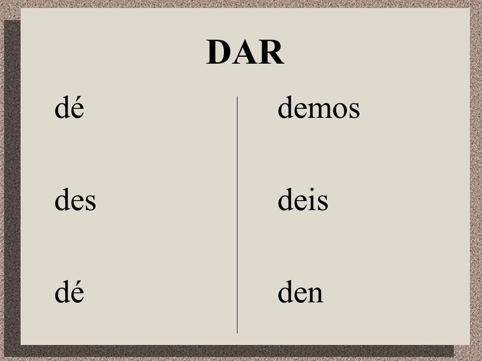 Irregular Verbs in the Subjunctive DDar IIr SSer HHaber EEstar SSaber