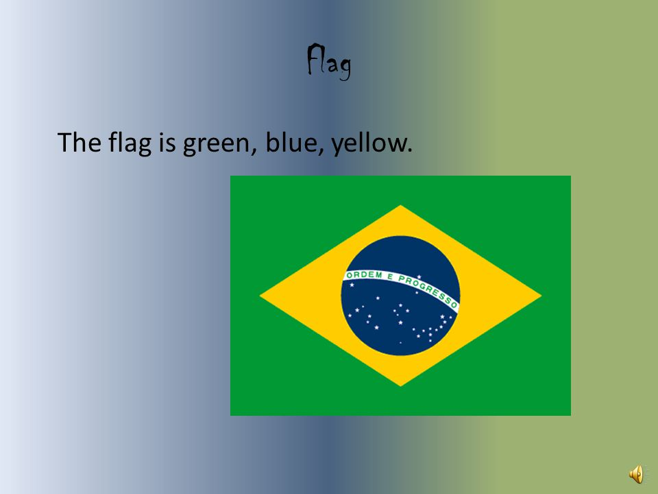Flag The flag is green, blue, yellow.