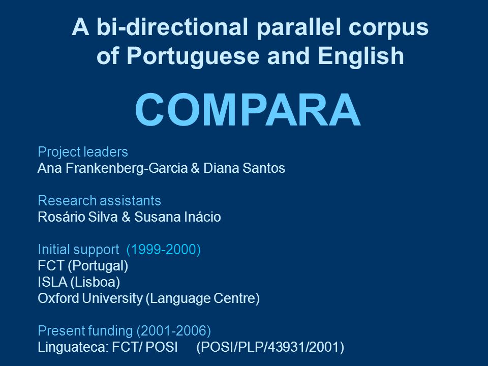 Studies using COMPARA 1.Observing source texts and translations 2.Constrasting Portuguese and English 3.Comparing translated and untranslated language 4.Examining the characteristics of translated texts