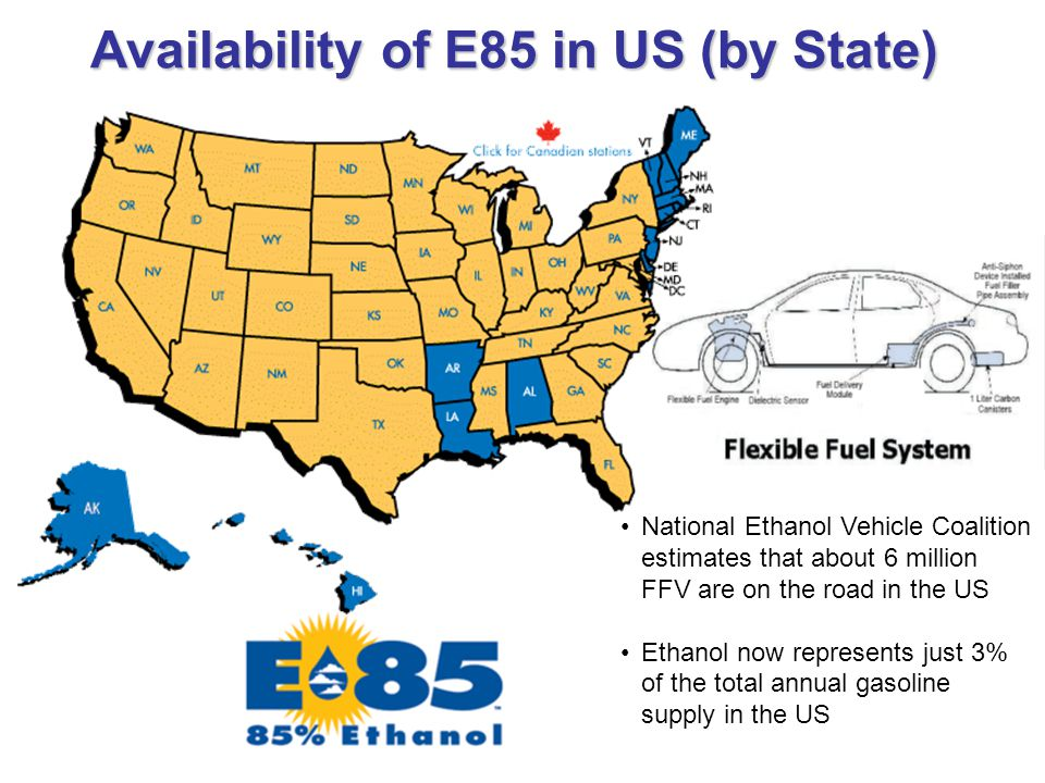 Availability of E85 in US (by State) National Ethanol Vehicle Coalition estimates that about 6 million FFV are on the road in the US Ethanol now represents just 3% of the total annual gasoline supply in the US