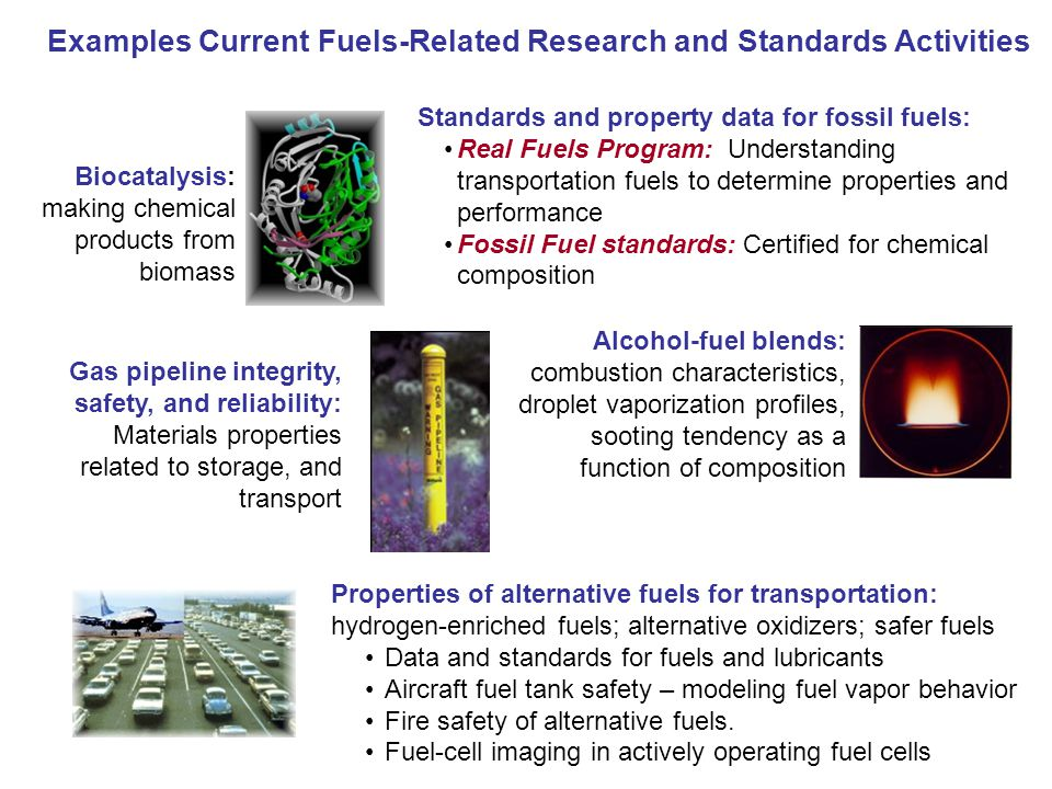 Examples Current Fuels-Related Research and Standards Activities Biocatalysis: making chemical products from biomass Properties of alternative fuels for transportation: hydrogen-enriched fuels; alternative oxidizers; safer fuels Data and standards for fuels and lubricants Aircraft fuel tank safety – modeling fuel vapor behavior Fire safety of alternative fuels.