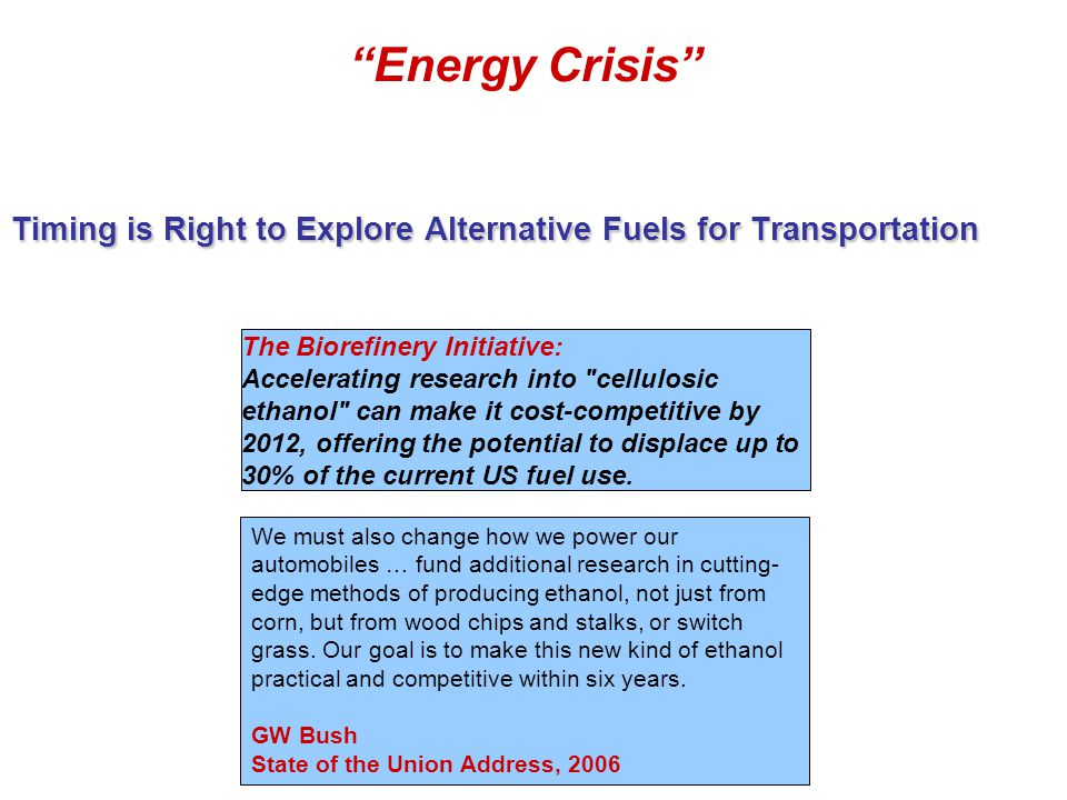 """Timing is Right to Explore Alternative Fuels for Transportation """"Energy Crisis"""" The Biorefinery Initiative: Accelerating research into"""