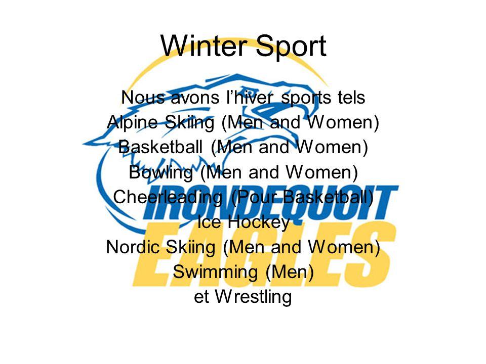 Winter Sport Nous avons l'hiver sports tels Alpine Skiing (Men and Women) Basketball (Men and Women) Bowling (Men and Women) Cheerleading (Pour Basketball) Ice Hockey Nordic Skiing (Men and Women) Swimming (Men) et Wrestling