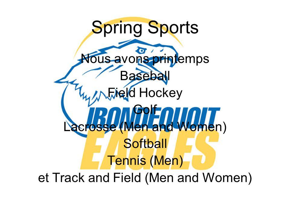 Spring Sports Nous avons printemps Baseball Field Hockey Golf Lacrosse (Men and Women) Softball Tennis (Men) et Track and Field (Men and Women)