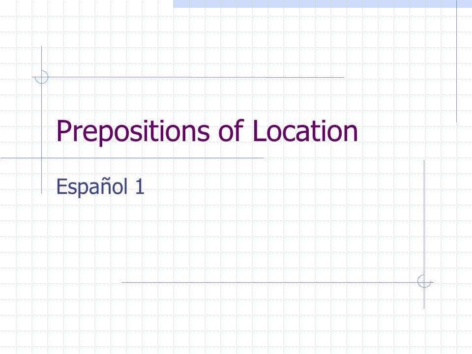 Prepositions of Location A la derecha de = to the right of A la izquierda de = to the left of Al lado de = beside Cerca de = near Delante de = in front of Detrás de = behind Enfrente de = facing Entre = between Lejos de = far from