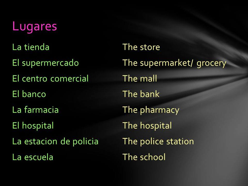 The store The supermarket/ grocery The mall The bank The pharmacy The hospital The police station The school La tienda El supermercado El centro comercial El banco La farmacia El hospital La estacion de policia La escuela Lugares