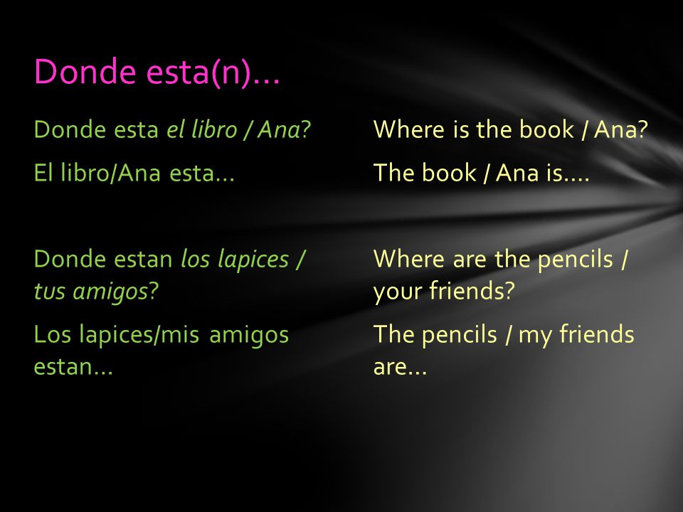 Where is the book / Ana. The book / Ana is…. Where are the pencils / your friends.