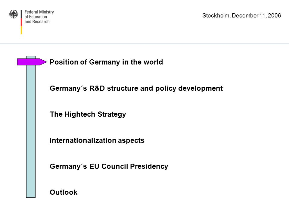 Stockholm, December 11, 2006 R&D financed from abroad In % of gross expenditure on R&D (GERD) Source: Eurostat, R&D statistics %