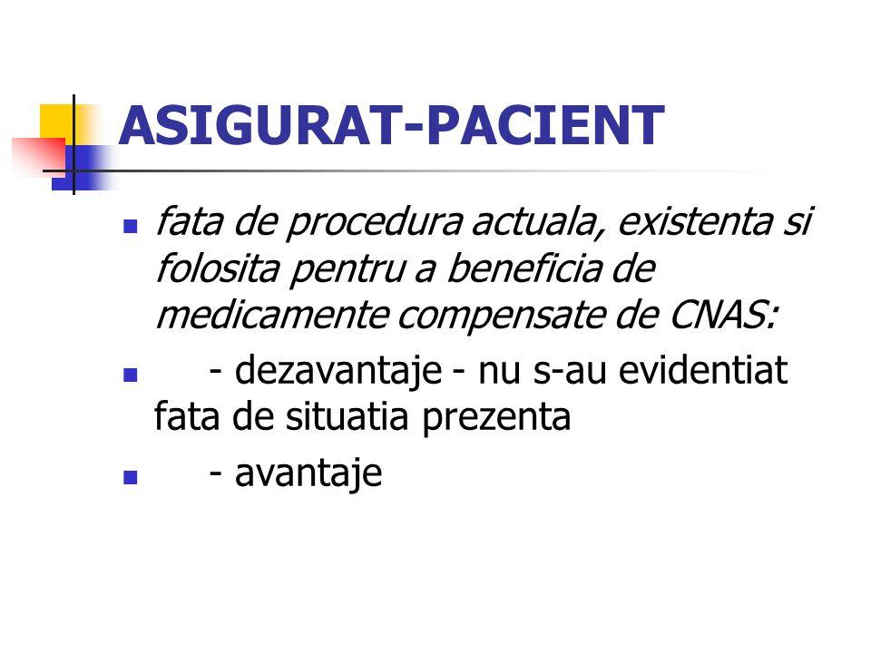 ASIGURAT-PACIENT fata de procedura actuala, existenta si folosita pentru a beneficia de medicamente compensate de CNAS: - dezavantaje - nu s-au evidentiat fata de situatia prezenta - avantaje