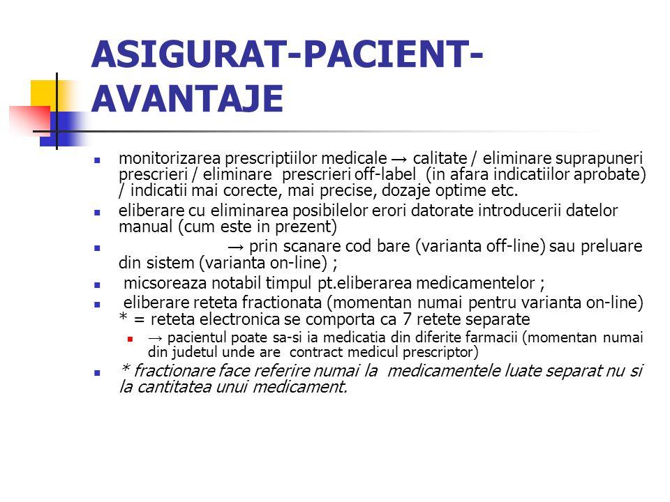 ASIGURAT-PACIENT- AVANTAJE monitorizarea prescriptiilor medicale → calitate / eliminare suprapuneri prescrieri / eliminare prescrieri off-label (in afara indicatiilor aprobate) / indicatii mai corecte, mai precise, dozaje optime etc.