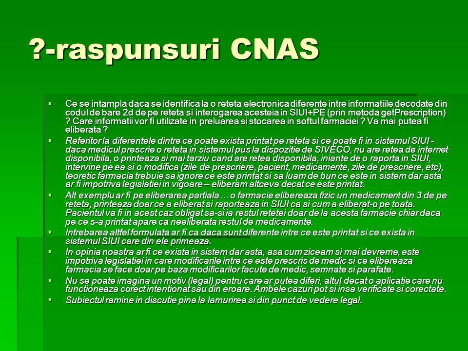 -raspunsuri CNAS  Ce se intampla daca se identifica la o reteta electronica diferente intre informatiile decodate din codul de bare 2d de pe reteta si interogarea acesteia in SIUI+PE (prin metoda getPrescription) .