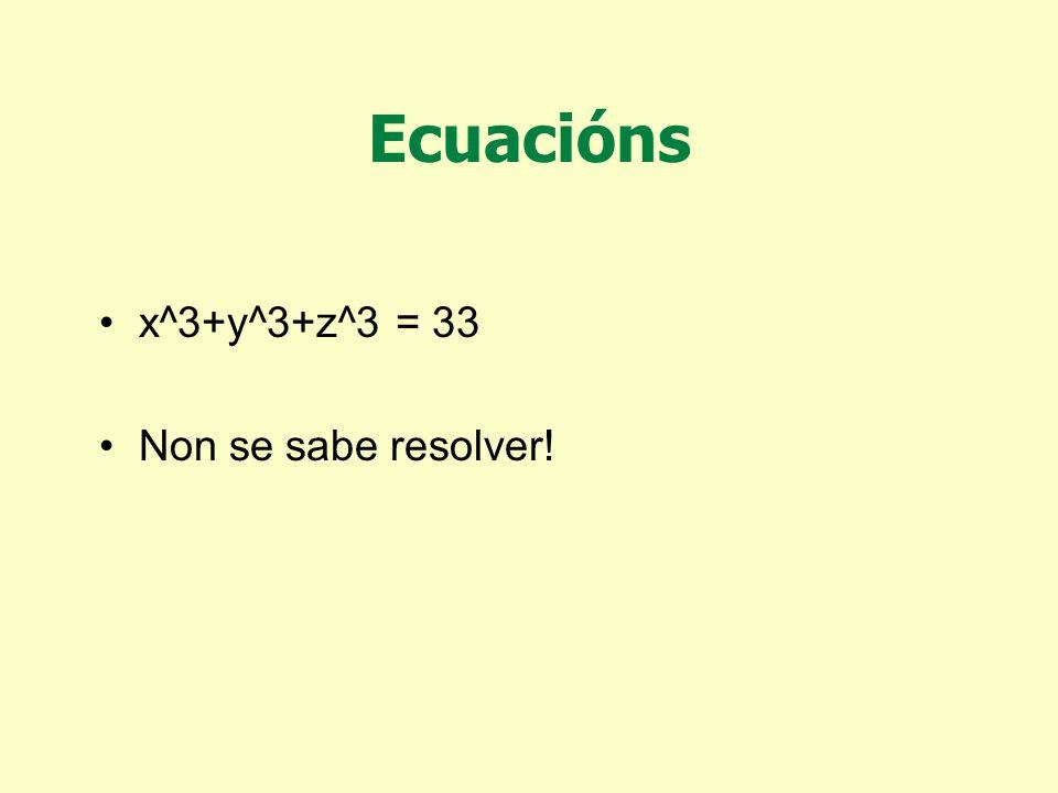 Ecuacións x^3+y^3+z^3 = 30 Ten solución X=-283059965 Y=-2218888517 Z=2220422932 (descuberta en 1999)