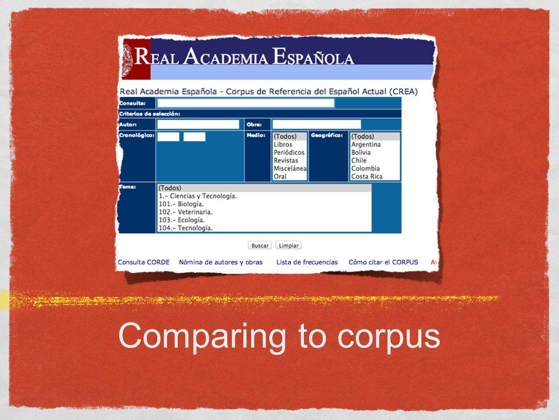 Comparing to corpus