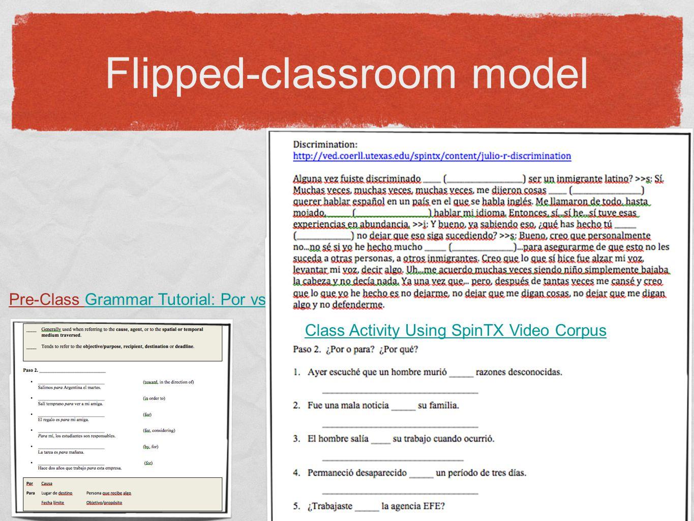 Flipped-classroom model Pre-Class Grammar Tutorial: Por vs.