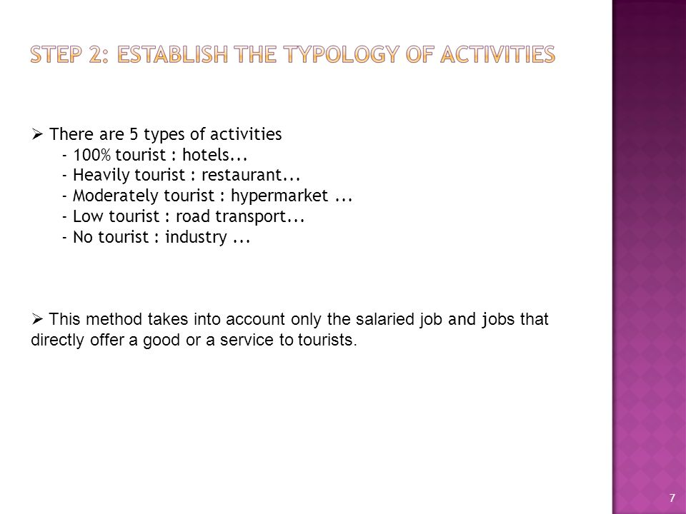  There are 5 types of activities - 100% tourist : hotels...