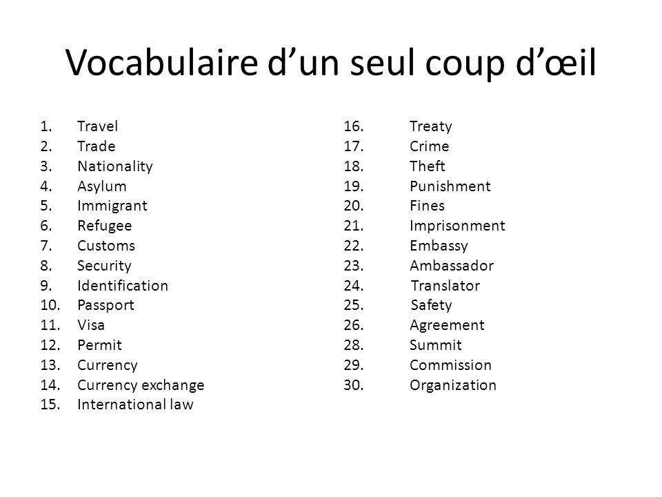 Vocabulaire d'un seul coup d'œil 1.Travel 2.Trade 3.Nationality 4.Asylum 5.Immigrant 6.Refugee 7.Customs 8.Security 9.Identification 10.Passport 11.Visa 12.Permit 13.Currency 14.Currency exchange 15.International law 16.Treaty 17.Crime 18.Theft 19.Punishment 20.Fines 21.Imprisonment 22.Embassy 23.Ambassador 24.