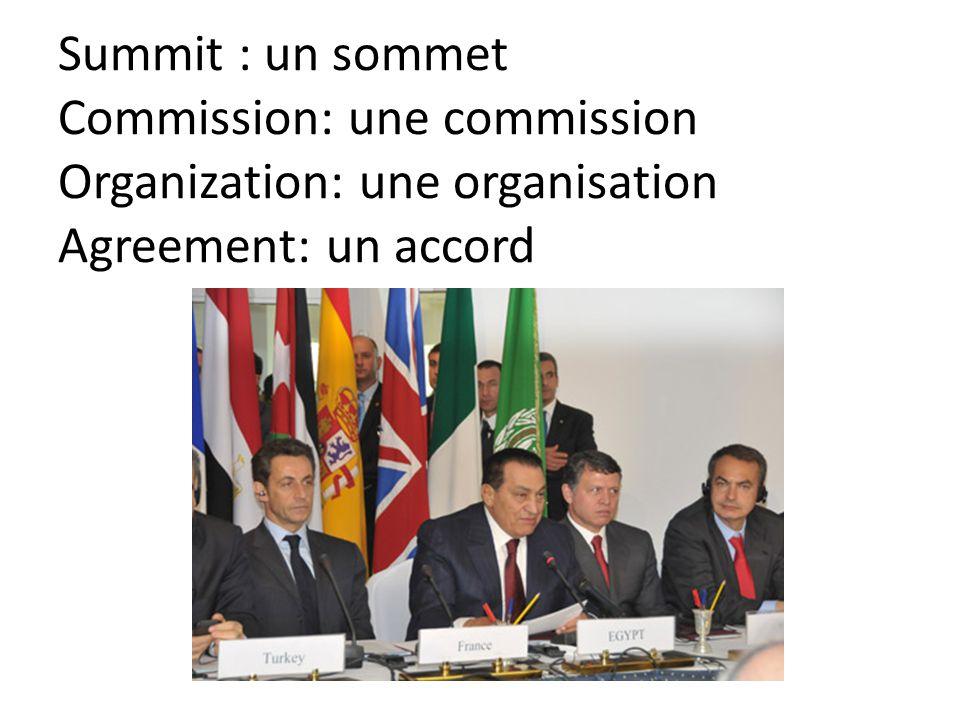 Summit : un sommet Commission: une commission Organization: une organisation Agreement: un accord