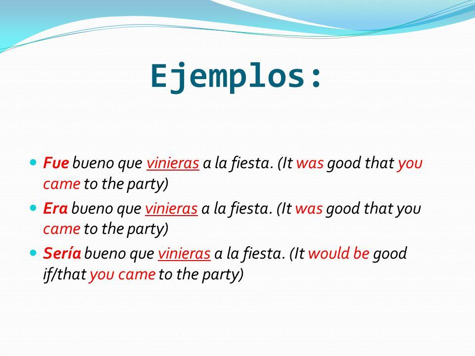 Ejemplos: Fue bueno que vinieras a la fiesta.