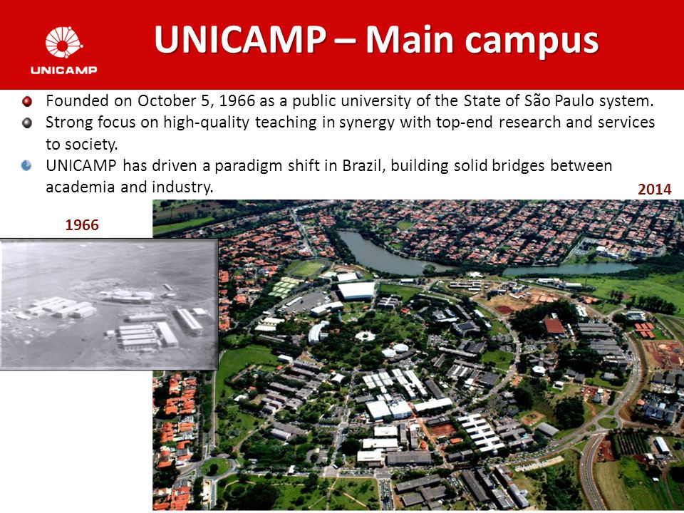 3 1966 2014 UNICAMP – Main campus Founded on October 5, 1966 as a public university of the State of São Paulo system.