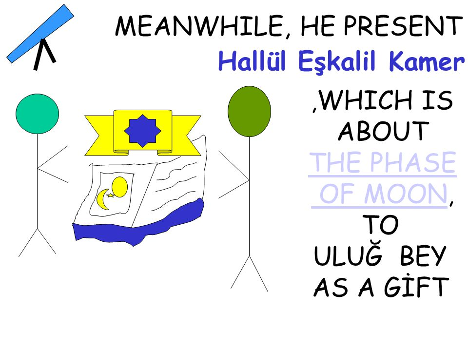 Hallül Eşkalil Kamer TO ULUĞ BEY AS A GİFT MEANWHILE, HE PRESENT, WHICH IS ABOUT THE PHASE OF MOON OF MOON,