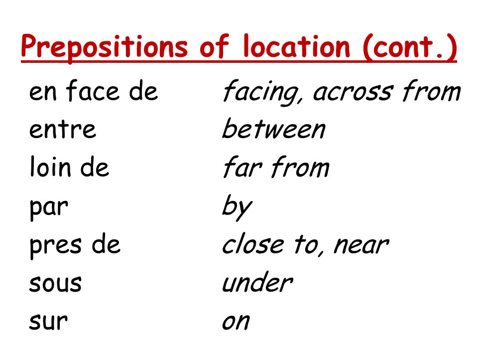 Prepositions of location (cont.) en face defacing, across from entrebetween loin defar from parby pres declose to, near sousunder suron