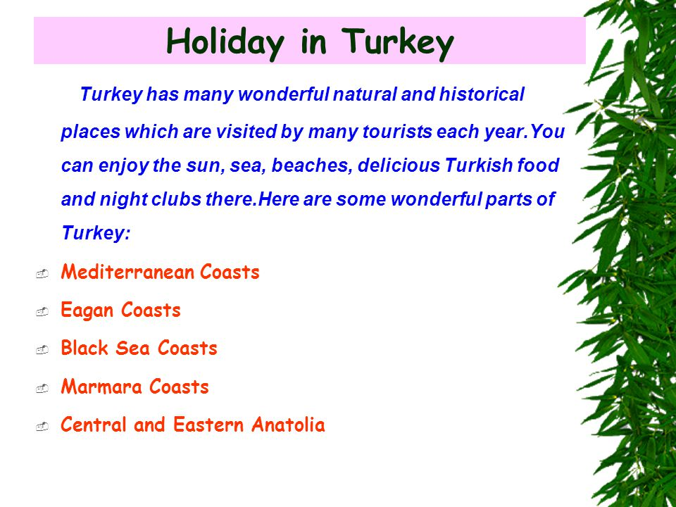 Holiday in Turkey Turkey has many wonderful natural and historical places which are visited by many tourists each year.You can enjoy the sun, sea, beaches, delicious Turkish food and night clubs there.Here are some wonderful parts of Turkey:  Mediterranean Coasts  Eagan Coasts  Black Sea Coasts  Marmara Coasts  Central and Eastern Anatolia