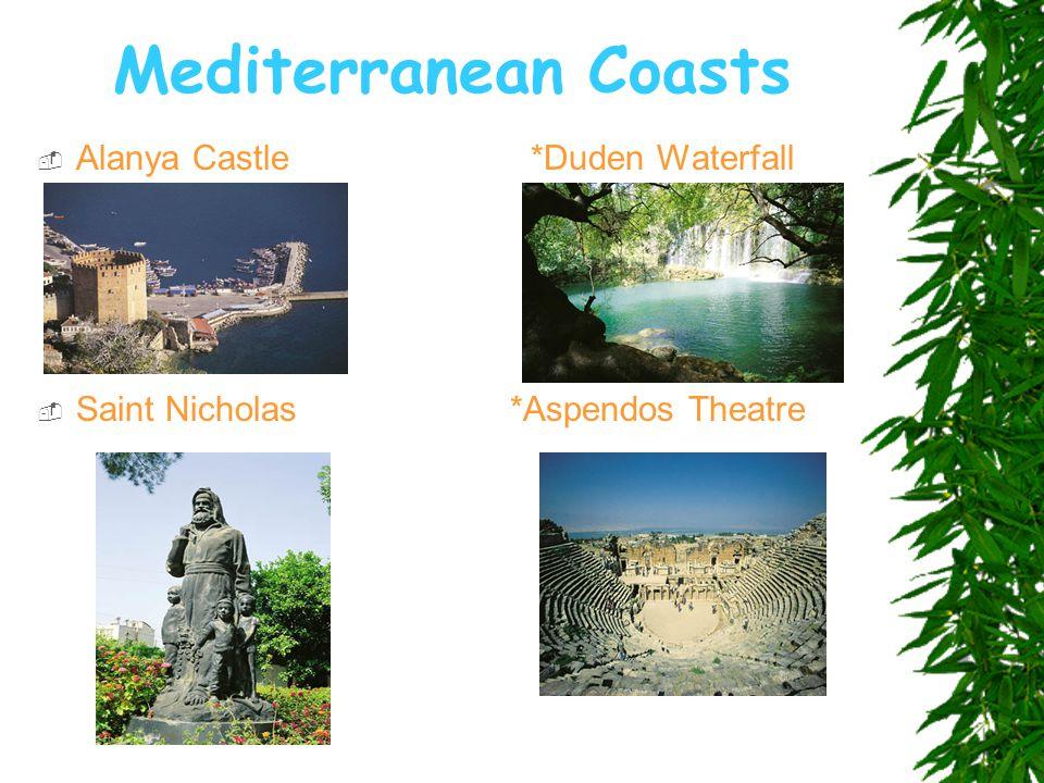 Mediterranean Coasts  Alanya Castle *Duden Waterfall  Saint Nicholas *Aspendos Theatre
