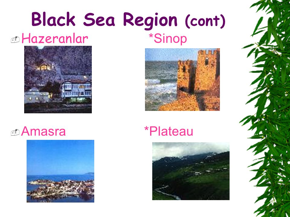 Black Sea Region (cont)  Hazeranlar *Sinop  Amasra *Plateau