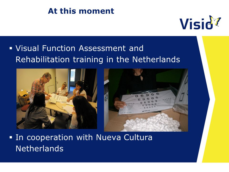 At this moment  Visual Function Assessment and Rehabilitation training in the Netherlands  In cooperation with Nueva Cultura Netherlands