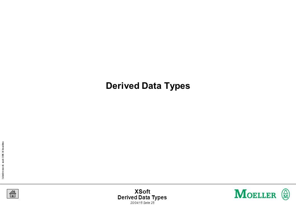 Schutzvermerk nach DIN 34 beachten 20/04/15 Seite 25 XSoft Derived Data Types