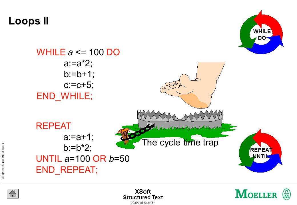 Schutzvermerk nach DIN 34 beachten 20/04/15 Seite 61 XSoft WHILE a <= 100 DO a:=a*2; b:=b+1; c:=c+5; END_WHILE; WHILE DO REPEAT a:=a+1; b:=b*2; UNTIL a=100 OR b=50 END_REPEAT; REPEAT UNTIL The cycle time trap Loops II Structured Text