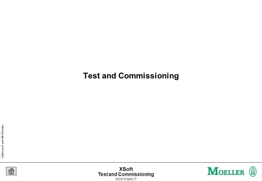 Schutzvermerk nach DIN 34 beachten 20/04/15 Seite 71 XSoft Test and Commissioning